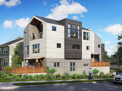 Contemporary townhomes at Skidmore and 15th in Portland