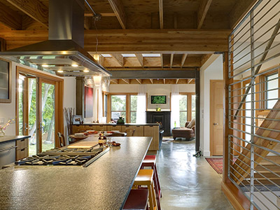 Kitchen in a modern urban farmhouse near the Alaska Junction in West Seattle, Washington